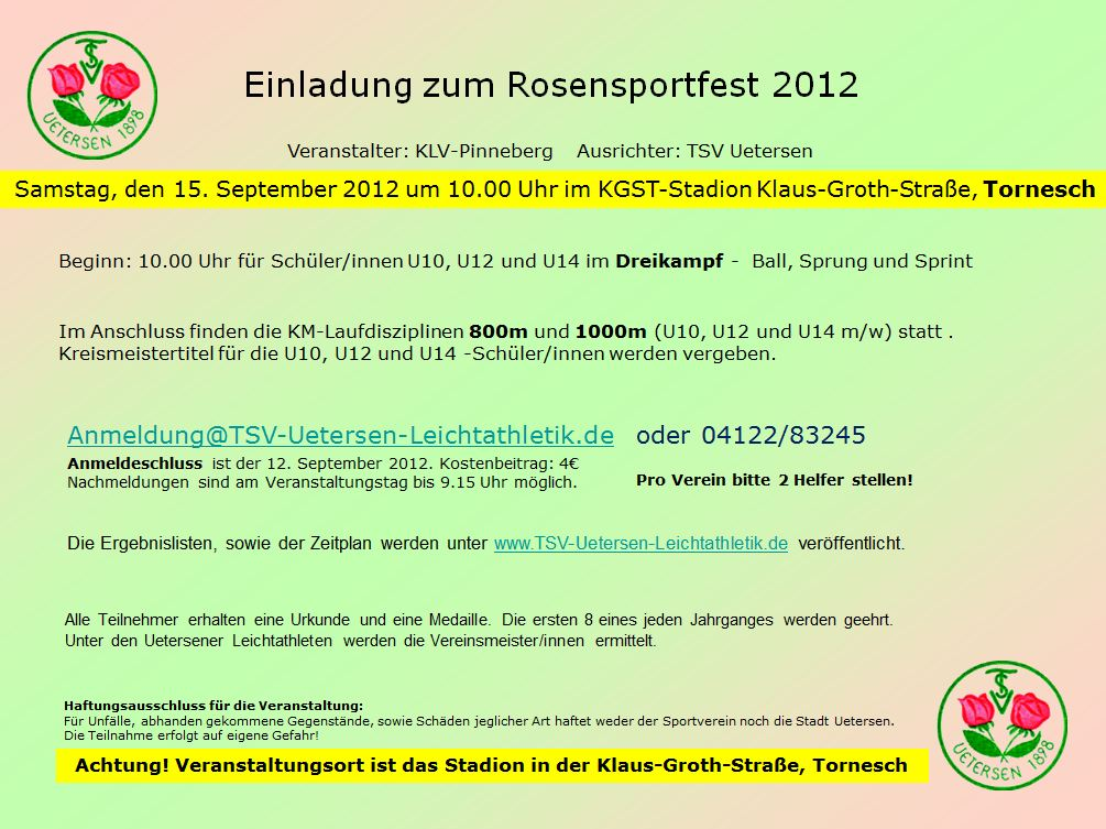 Einladung zum Rosensportfest 2012